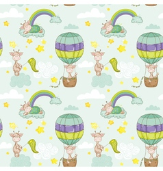 Baby Giraffe Background Seamless Pattern vector image vector image