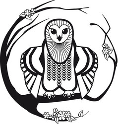 black and white owl sitting on a branch tree vector image vector image