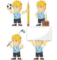 Blonde rich boy customizable mascot 5 vector