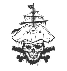 Captain skull on a background of pirate attributes vector