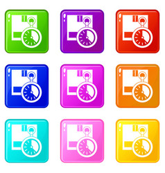 cardboard box with stopwatch set 9 vector image vector image