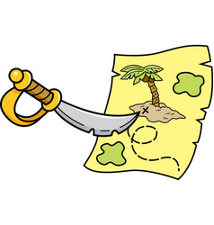 Cartoon sword pointing at a treasure map vector