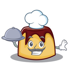 Chef with food pudding character cartoon style vector