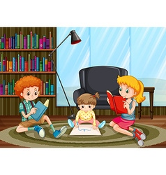 Children reading and drawing in the room vector