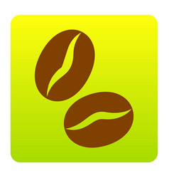 Coffee beans sign brown icon at green vector