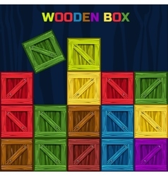 Colors wooden box game element vector