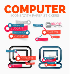 Diagram elements set of pc computer icons vector