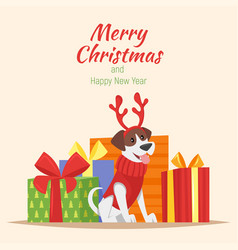 dog with deer christmas horns vector image vector image