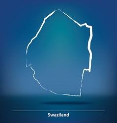 Doodle Map of Swaziland vector image vector image