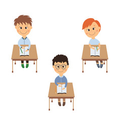 flat schoolboy sitting at desk set isolated vector image vector image