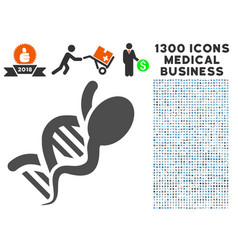 genetics icon with 1300 medical business icons vector image