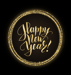 Gold and black card with happy new year text and vector