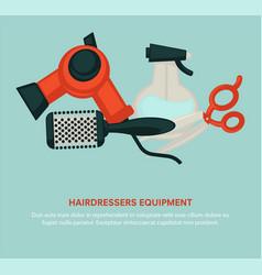 Hairdresser equipment beauty salon poster vector