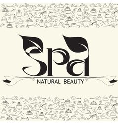Handwritten word spa natural beauty vector