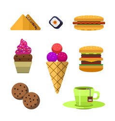 icons sweet fast food elements vector image vector image