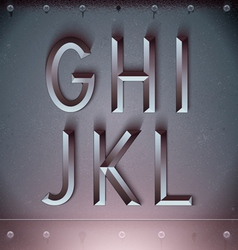 Metal Embossed Font from G to L vector image