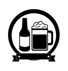 Monochrome emblem with beer bottle and glass vector