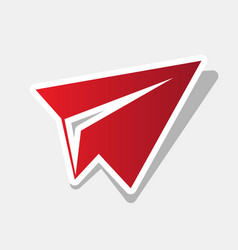 Paper airplane sign new year reddish icon vector