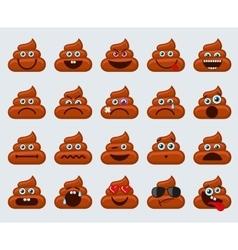 Poop emoticons smileys icons vector