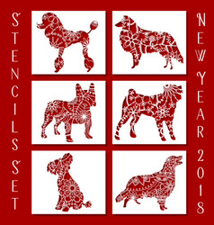 Set of dog stencils vector