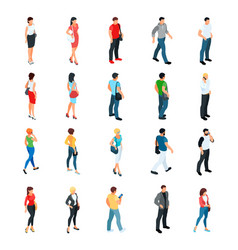 set of isometric people modern young people vector image vector image