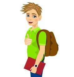 teenage student with backpack vector image vector image