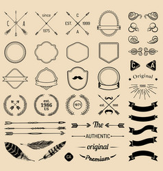 Vintage hipster logo elements with arrowsribbons vector