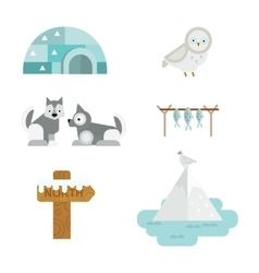 Wild north arctic symbols vector