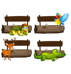 wooden signs with many animals vector image vector image