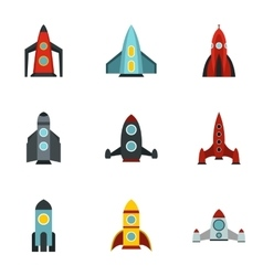 Fast rockets icons set flat style vector
