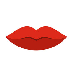 red female lips icon flat style vector image