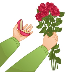 Man with ring and flowers vector image