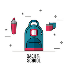color poster of back to school with backpack in vector image