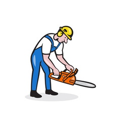 Lumberjack Arborist Operating Chainsaw Cartoon vector image