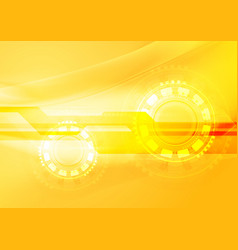 Abstract yellow wavy tech background vector