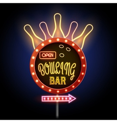 Neon sign bowling club vector