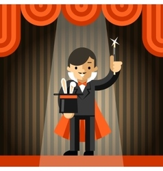 Magician holding top hat with rabbit vector image