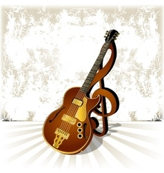 Jazz guitar with a treble clef and shadow on vector