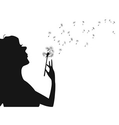 Woman blowing dandelion vector