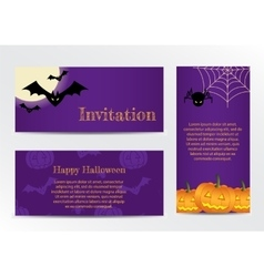 Set of inventations on halloween party vector