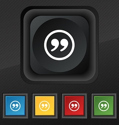 Double quotes icon symbol set of five colorful vector