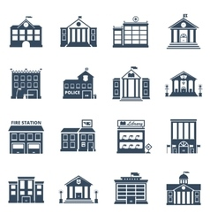 Government building black icons set vector