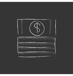 Stack of dollar bills drawn in chalk icon vector