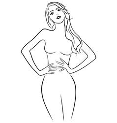 Attractive girl holding hands on waistline vector