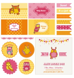 Baby shower owl party set vector