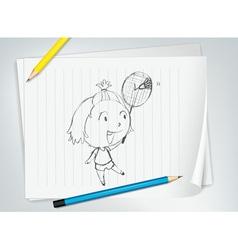 Badminton player sketch vector image
