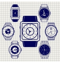 Ball pen watch icons set vector