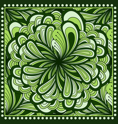 Bandana print with fantasy flower in green color vector
