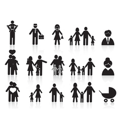 black happy family icons set vector image vector image