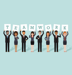 businessman and businesswoman teamwork vector image vector image